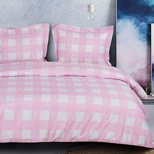 3 Pcs King Microfiber Duvet Cover Set, Pink Grid
